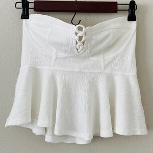 Free People Cropped Peplum Bustier Ivory Tube Top